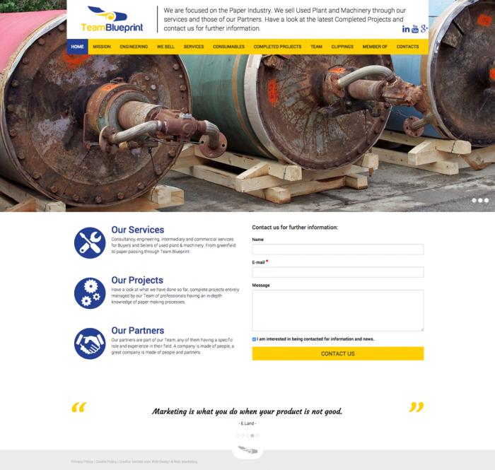 Sito web responsive creato con Joomla per Team Blueprint