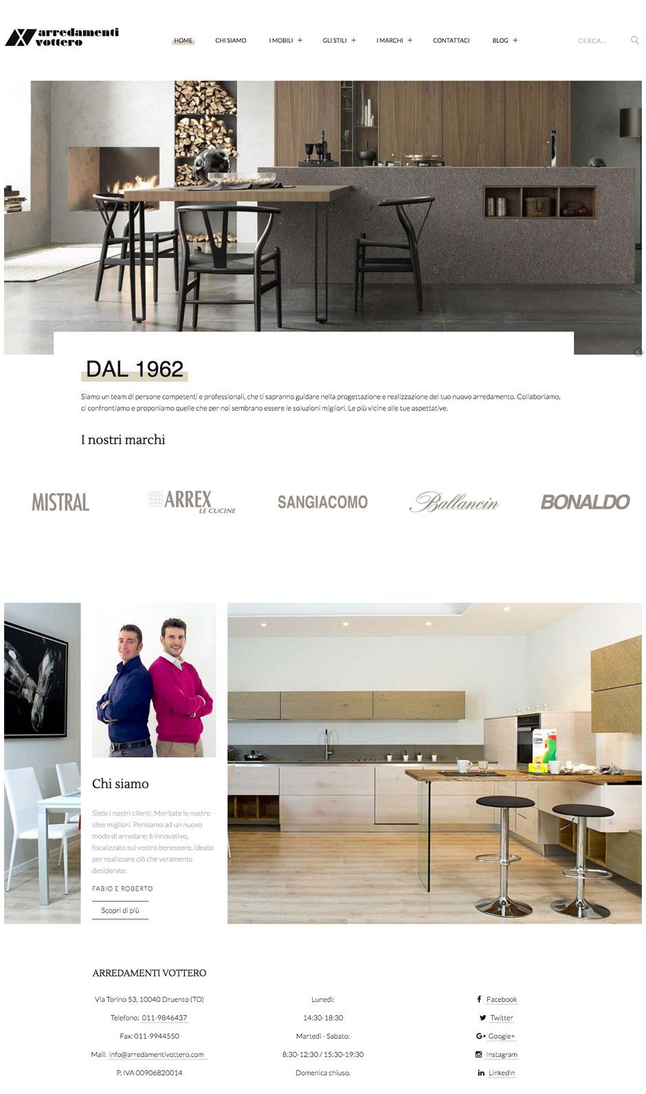 Sito web responsive per Arredamenti Vottero. Design Minimalista. Creato con Joomla.