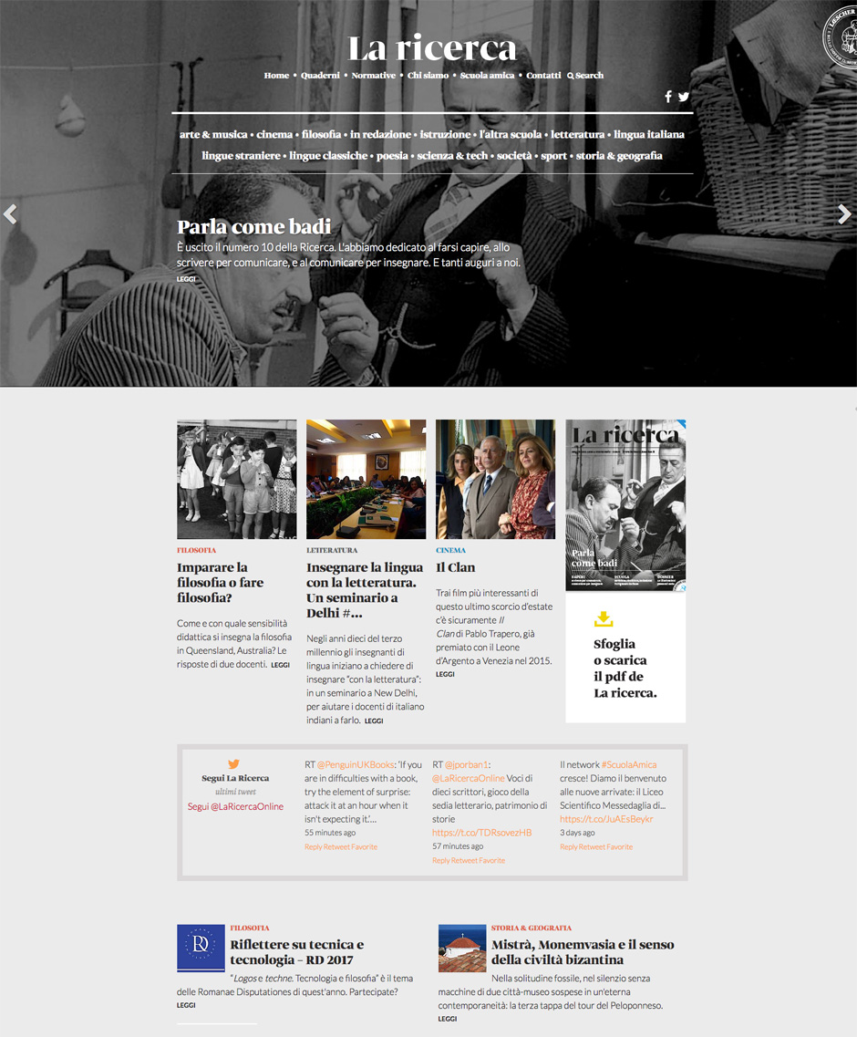 Sito Web Responsive La Ricerca Loescher: migrazione e restyling Joomla