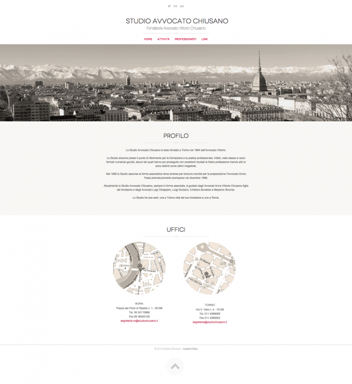 Sito web con design responsive per Studio Chiusano, creato con Joomla