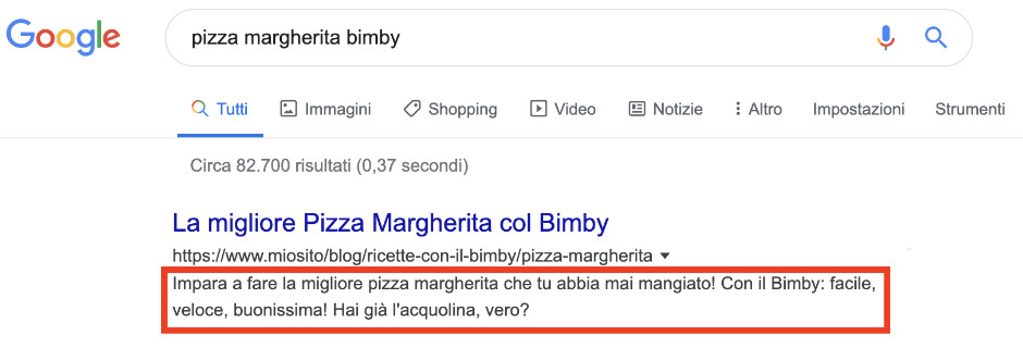 Metadescription ottimizzata per Google